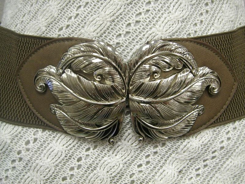 "STYLISH WOMEN ELASTIC BEIGE BELT CHIC SILVER LEAVES METAL BUCKLE 27""-37"""