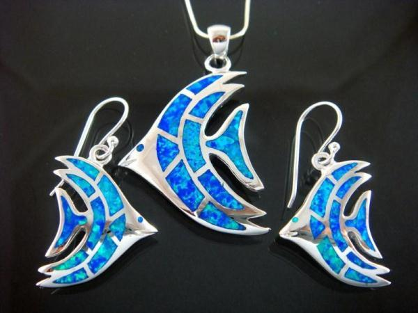 925 Silver Earrings Pendant Set Hawaiian Blue Opal Fish