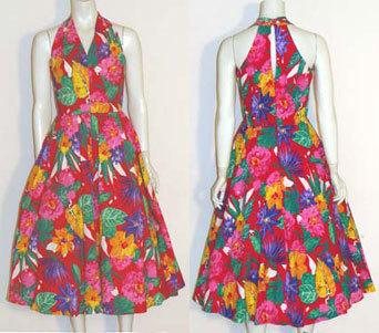Vintage 80s Does 50s Full Skirt Dress