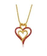 24K Yellow Gold Plated Ruby Corundum Triple Hea... - $14.00