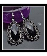 Black Tibetian Silver Crystal Teardrop Earrings - $11.95