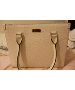 "Kate Spade ""Head in the Sand Quinn"" Ostrich Bag (White)"