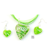 Lampwork Bead Earrings Necklace Set Green Hearts - $12.95