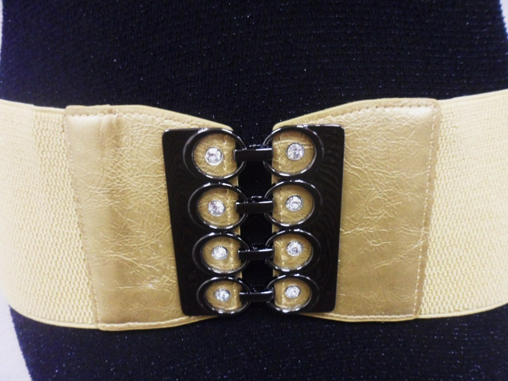 "WOMEN GOLD WIDE ELASTIC BELT  W/ CIRCLES AND RHINESTONES BUCKLE 29""-38"""