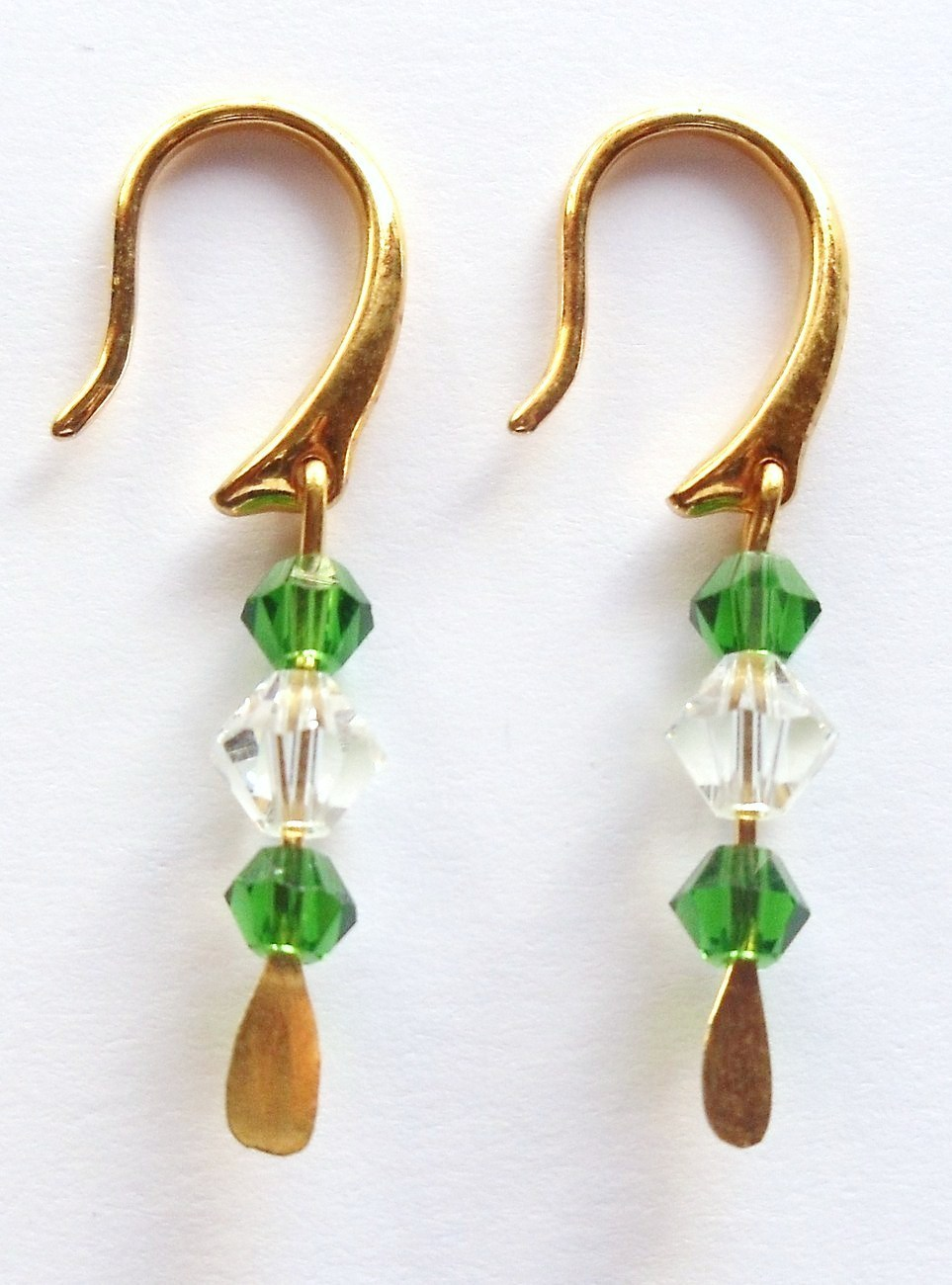 GENUINE Swarovski Emerald and Crystal Earrings