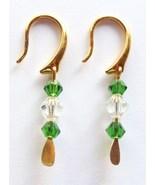 GENUINE Swarovski Emerald and Crystal Earrings - $12.00