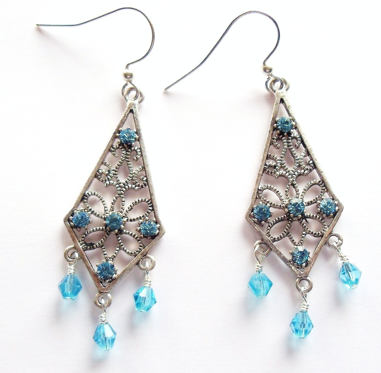 Swarovski Elements Aquamarine Earrings - Birthstone!!