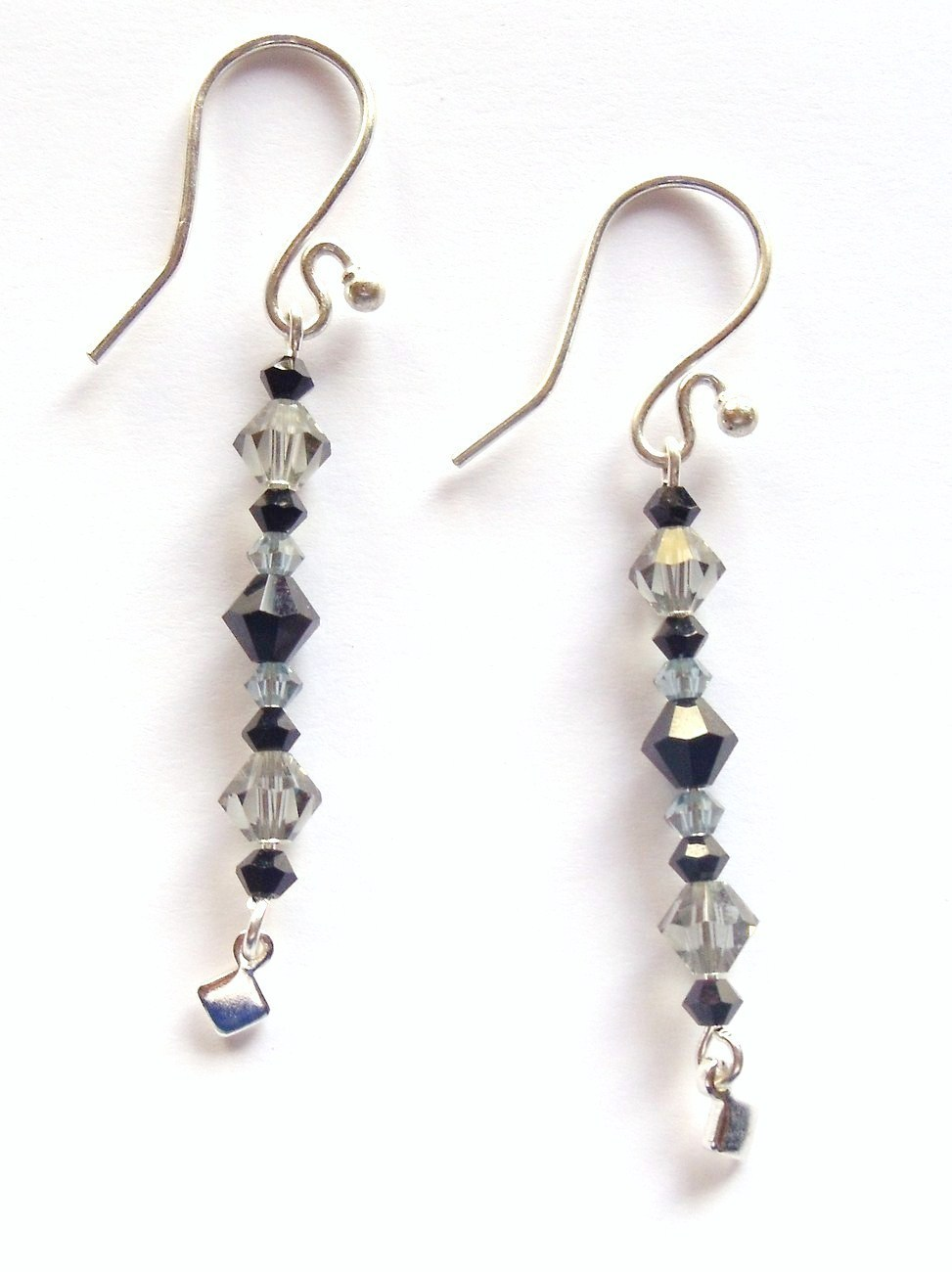 GENUINE Swarovski Black and Crystal Frenchback Earrings