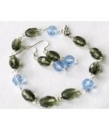 Gray Blue Faceted Glass Bead Bracelet Earrings Set - $8.00