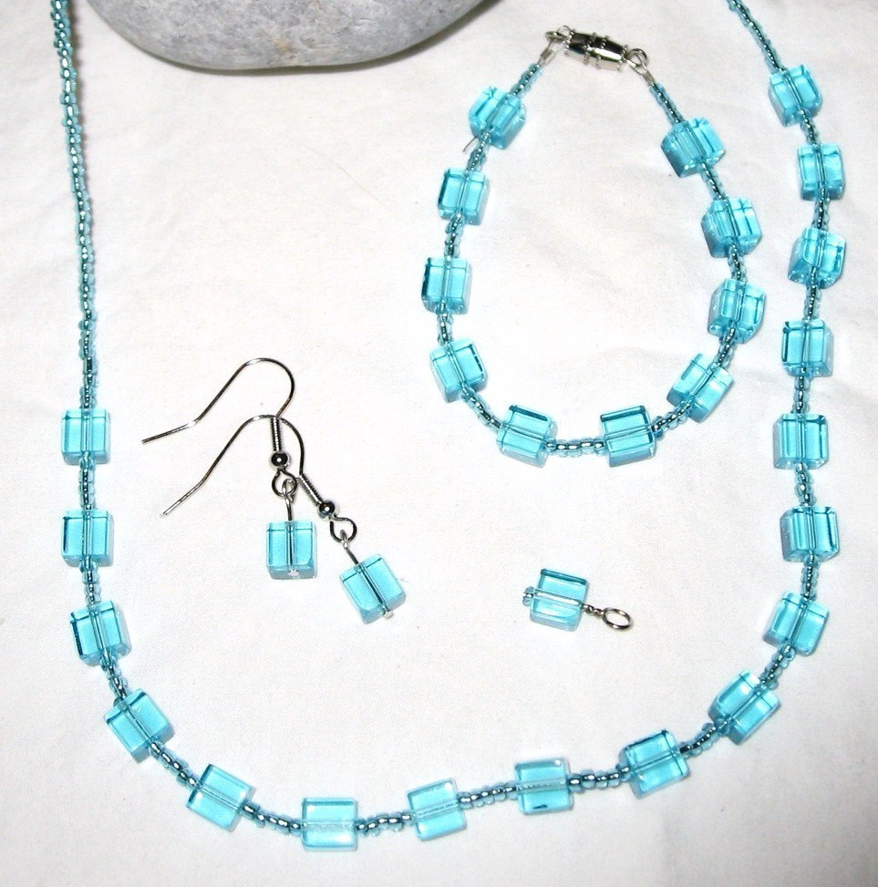 Blue Glass Cube Seed Bead Silver Plated Jewelry Set