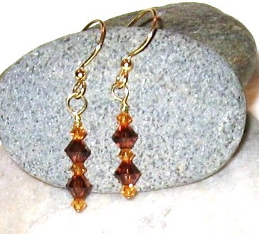 GENUINE Swarovski Crystal Smoked Topaz Earrings
