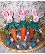 Primitive Bunny Carrots~~ Folk Art Ornies Patte... - $11.95
