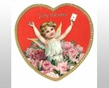 Antique die cut Tuck Valentine card angel pink roses heart e
