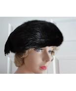 Vintage Genuine Black Mink Women Hat Rolland Fo... - $73.36