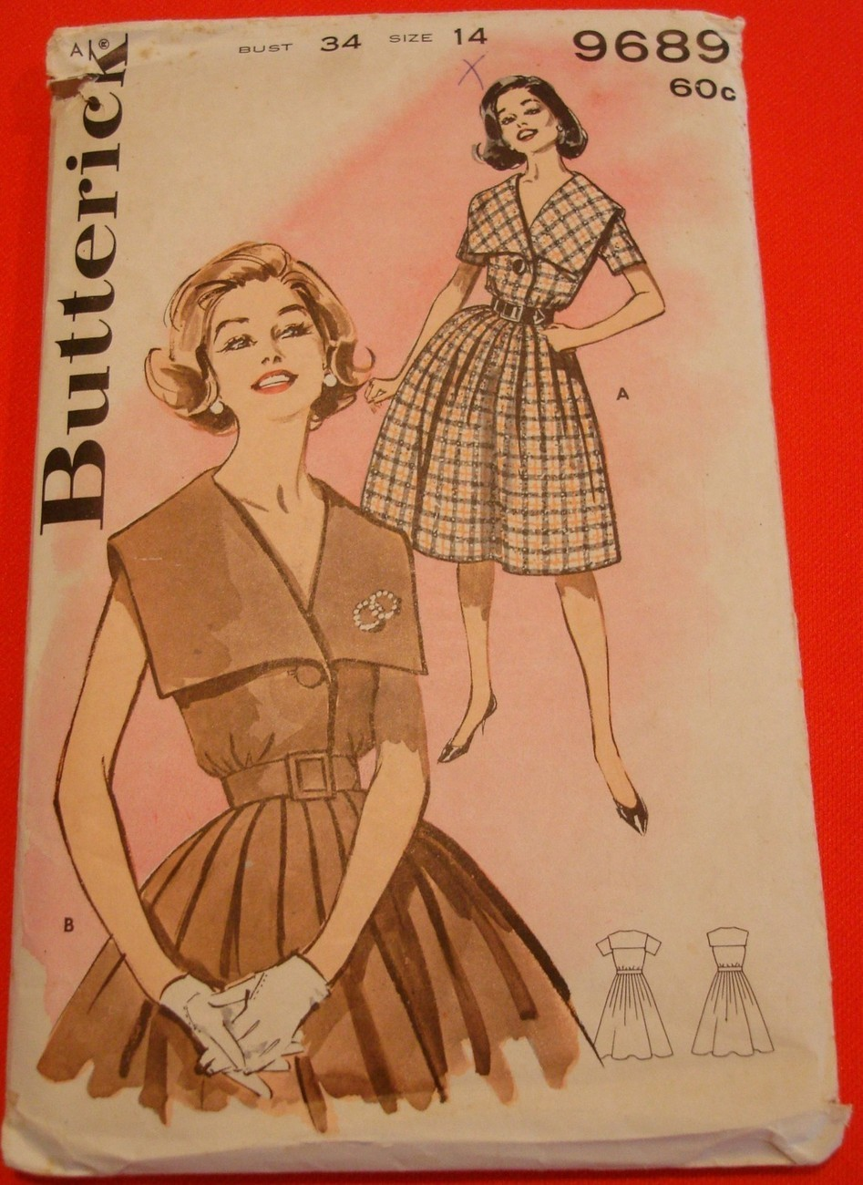 Vintage 1960s Dress Pattern UNCUT Big Collar Full Skirt Butterick 9689 Sz14 B34