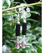 Tubular Peyote Stitch Black Seed Bead Earrings ... - $7.99