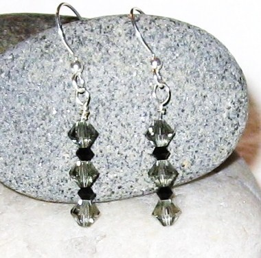 Swarovski crystal black diamond and jet black Earrings