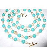 Turquoise Stone and Cream Shell Necklace Gold-P... - $12.00