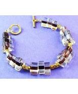 NEW Purple Clear Glass Triangle Beaded Toggle B... - $6.00