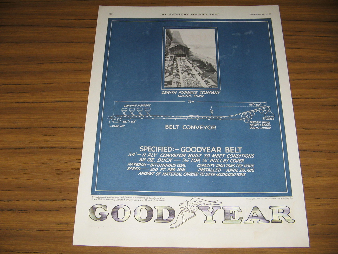 1920 Vintage Ad Goodyear Tire Belt Conveyor Zenith Furnace Duluth,MN