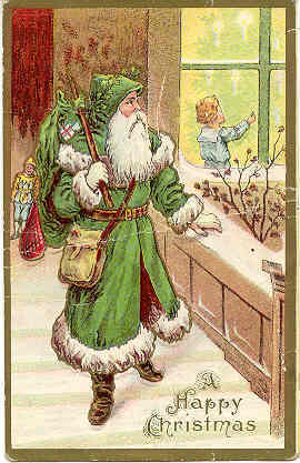 Santa Claus In a Green Robe vintage Post Card