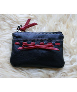 Nw SOFT PEBBLE LEATHER BOW CHANGE PURSE / WALLE... - $17.99