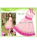 Tropical Style Pink Chiffon Ruched Halter Dress - $5.00