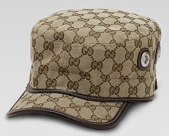 $395 GUCCI Authentic beige ebony GG Signature Military Hat Cap Made in ITALY -XL