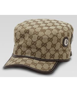 $395 GUCCI Authentic beige ebony GG Signature Military Hat Cap Made in ITALY -XL - $344.00