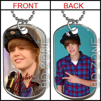justin bieber dog tag necklace. NEW Justin Bieber 2Side Dog
