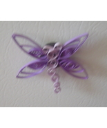 Handcrafted Paper Quill Dragonfly Magnet purple - $5.95