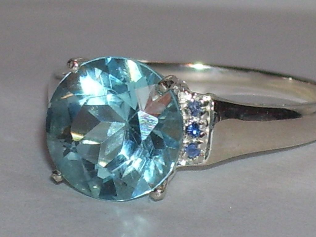 3.50ct Round Blue Topaz with Sapphire Accts Ring Sz 6.5  Sterling Silver 3.52ct