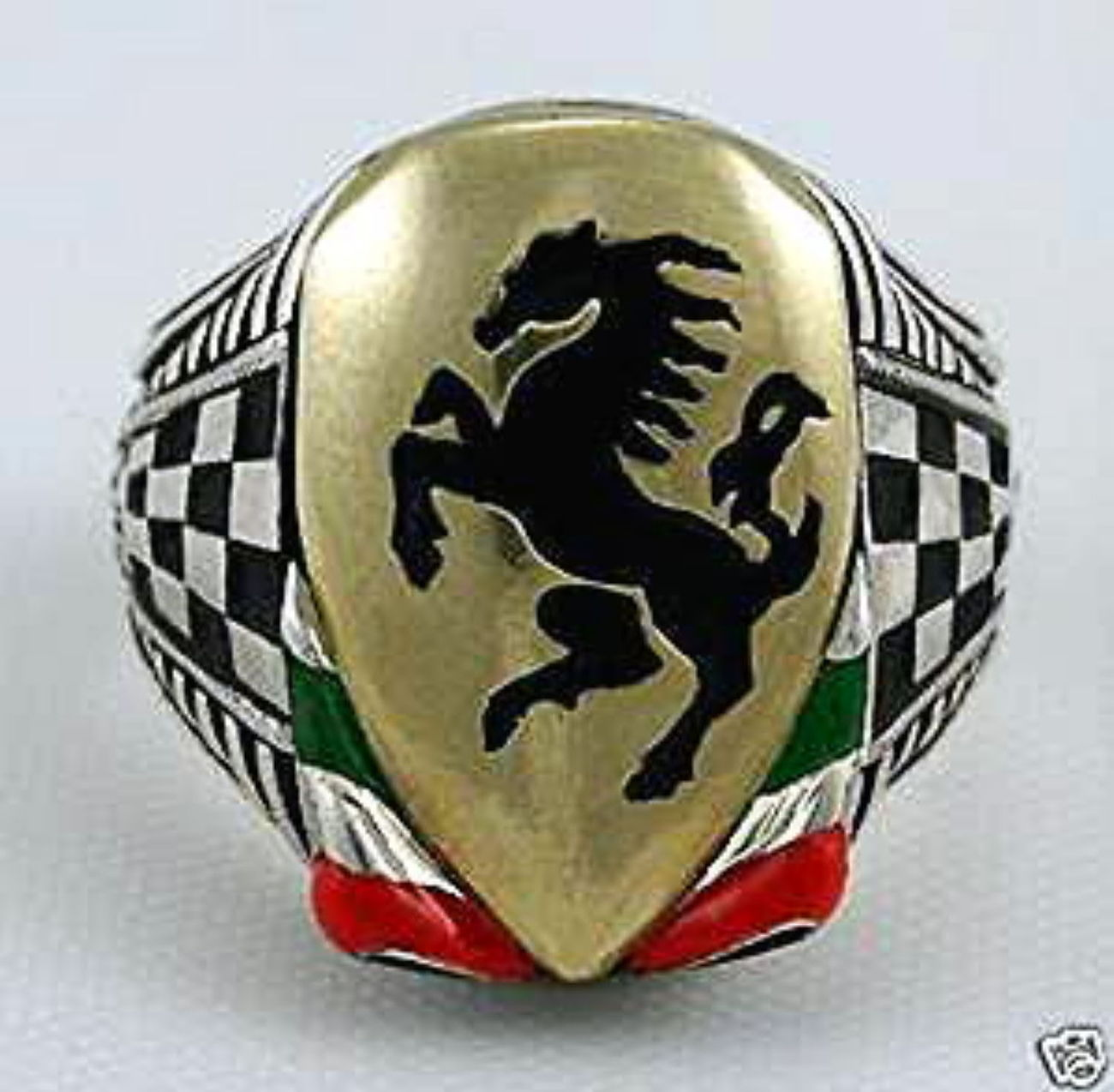 Italian Black Stallion  Heraldic shield ring sterling silver