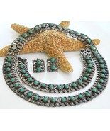 Vintage FarFan Mexico Necklace Sterling Turquoise Parure 40s - $399.95