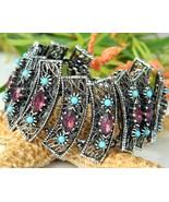 Vintage Panel Bracelet Turquoise Amethyst Rhine... - $49.95