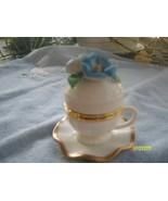 Blue Flower Porcelain Teacup & Saucer Trinket Box - $9.95