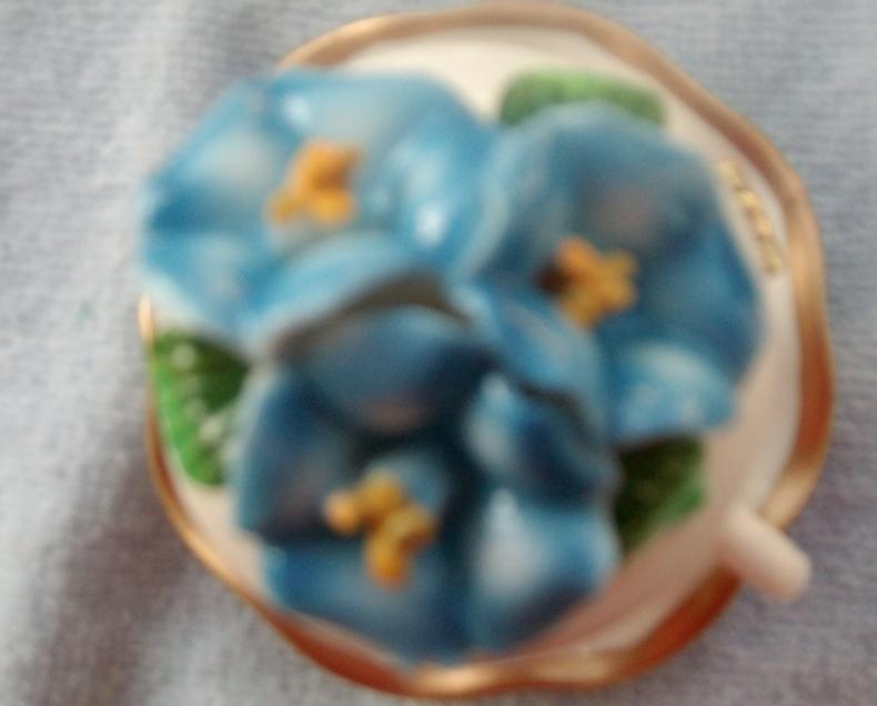 Image 1 of  Blue Flower Porcelain Teacup & Saucer Trinket Box