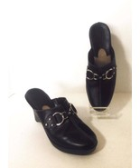 COLE HAAN Wms Black Leather Clogs Shoes Silver ... - $36.50