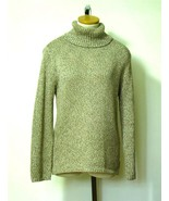 CHICO'S Wms Tan Grey Brown Metallic Turtleneck ... - $22.50