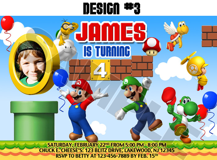 Super Mario Birthday Invitations could be nice ideas for your invitation template