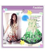 Green Floral Elastic Ruched Bodice Chiffon Dres... - $5.00