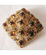 LISNER Amber Butterscotch Cabachon Gold Tone Br... - $19.59