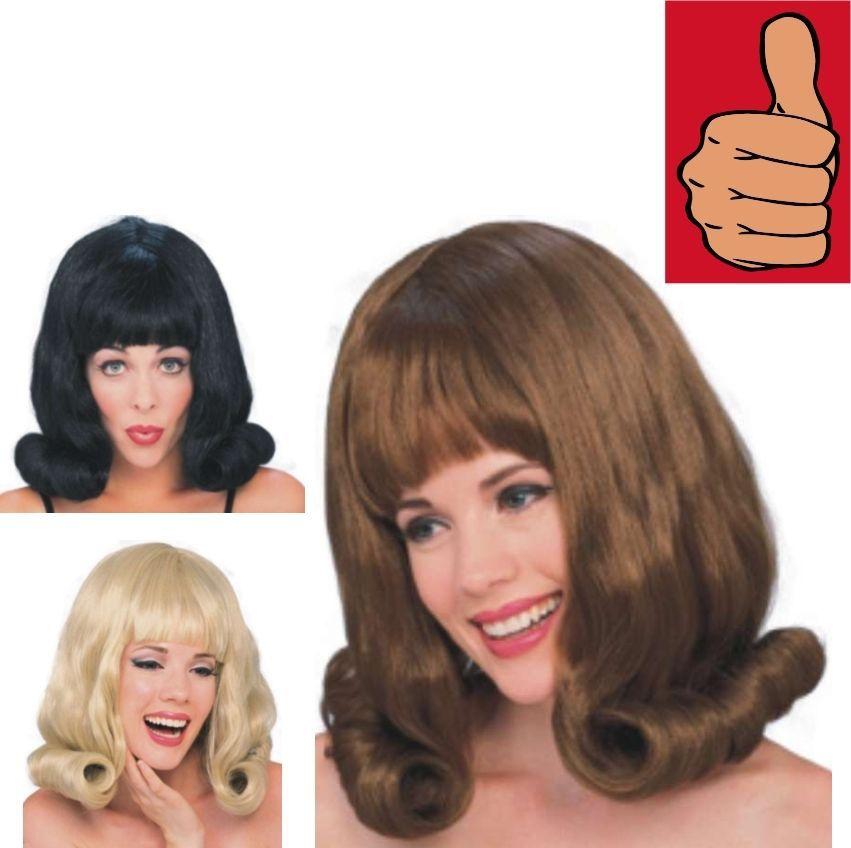 60 s black flip wig adult