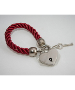 Key and lock satin cord bracelet red with gold ... - $34.95