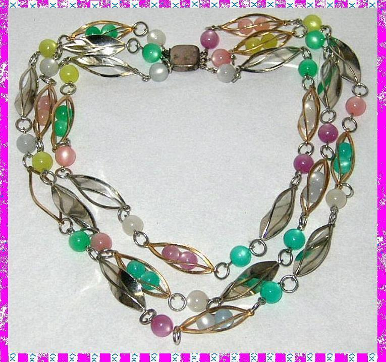 Vintage necklace caged pastel moonglow beads sterling clasp