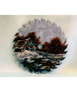 Hand Painted Saw Blade Old Barn Winter Scene Order - $34.00