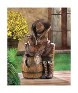 Western Water Fountain Cowboy Boots Saddle Barrel - $120.65