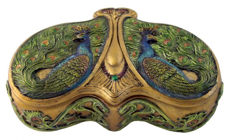 Art Nouveau Dual Peacock Jewelry Trinket Box