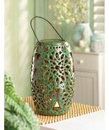 Large Green Ceramic Flameless Candle Lantern Ba... - $24.00