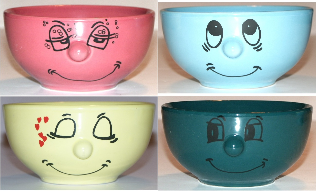 New Livingware Collection Set Of 4 Happy Funny Face Cereal